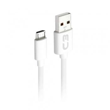 Cabo Micro USB 1M 2,0A CB-M10WH - C3PLUS